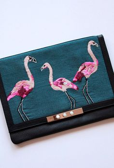 LIZZIE FORTUNATO X DECADE DIARY FLAMINGO CLUTCH