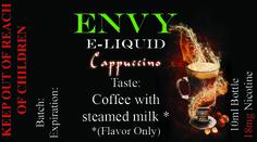 Envy Premium E liquid Collection Cappuccino Sale! $4.95