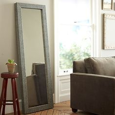 "Parsons Floor Mirror - Diamond Grass Cloth $499 24"" x 72"""
