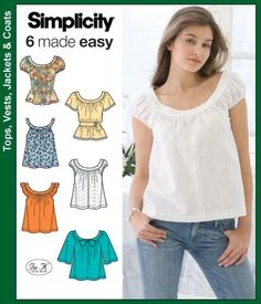 Simplicity Patterns S3751 Misses Tops and Belt Misses Tops and Belt, Easy, Out of Print