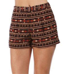 Navy Tribal Printed Shorts