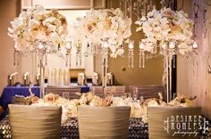 Tall crystal candelabras