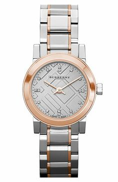 Burberry Small Diamond Dial Bracelet Watch, 26mm available at #Nordstrom