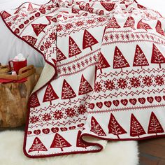 Catherine Lansfield Nordic Trees Fleece Throw, Red, 130 x 170 Cm