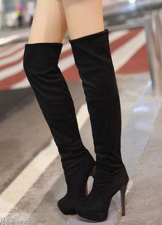 Black Platform Over the Knee Boots #heels #women's #shoes
