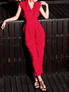 Sleeveless and Elastic Waist Jumpsuits with Harem Pants in Red | Choies