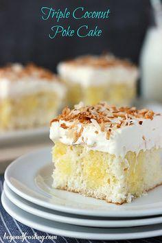 Triple Coconut Poke Cake   beyondfrosting.com   #pokecake #coconut