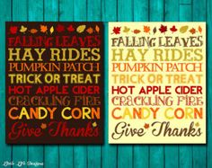 Fall Word Art - Give Thanks - Fall Decor - Trick or Treat - Thanksgiving Decor - Pumpkin Patch - Autumn Decor - Fall Sign - Seasonal Decor -