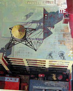 Catherine Mackey.  NY Rooftop.Mixed media and oil on wood panel.