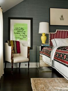 Bedroom ideas, love the use of colours!
