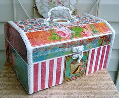 paper mosaic box... upcycled from an unwanted design... gorgeous inspiration! .... http://studiorose.wordpress.com/2011/07/10/from-nautical-to-nifty/#