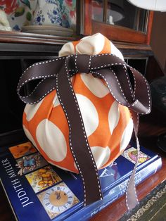 Fabric covered pumpkin, Amber B Interiors, Simple Dwellings blog, DIY project, fabric, #tonicliving, #blogpodium, #tonicfabricfun
