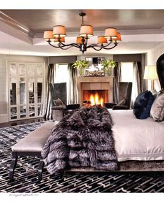 Fire & fur! bedroom decor, hollywood glamour, dream, fur, luxury bedrooms, master bedrooms, hous, kris jenner, bedroom designs