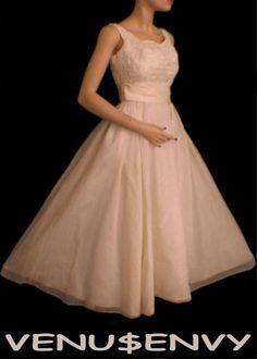vintage 50's lace chiffon tea length wedding dress $150