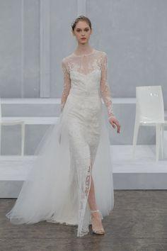 Monique Lhuillier lace-sleeve wedding dress