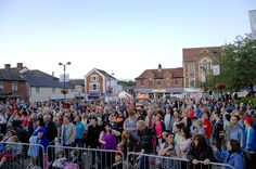 The crowd at the first of Haverhill Town Council's free tribute nights on the Market Square