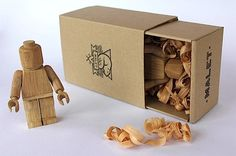 Wooden Lego figures by Thibaut Malet