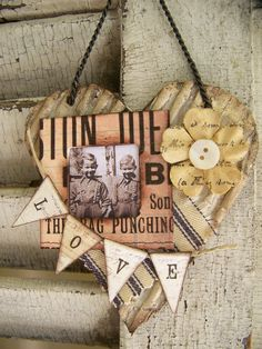 vintage heart, alter art, paper hearts, heart art, mixed media, mix media, altered art, cottage style, vintage style