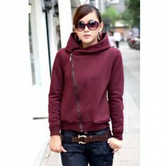 Casual Women's Fleece Hoodie With Solid Color and Zipper Long Sleeves PRICE  $8.47   #outwear #fashion #women