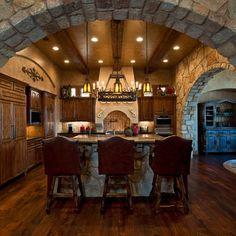 arch, mediterranean kitchen, brick, kitchen ideas