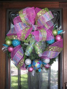 Pink Blue and Lime Green Christmas Wreath Ornaments by JoowaBean