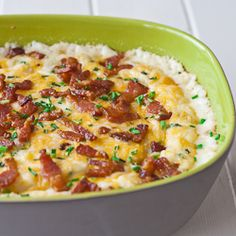 Cheesy Mashed Potatoes with Bacon and Chives - these mashed potatoes are loaded with 3 kinds of cheeses and bacon, yumm!