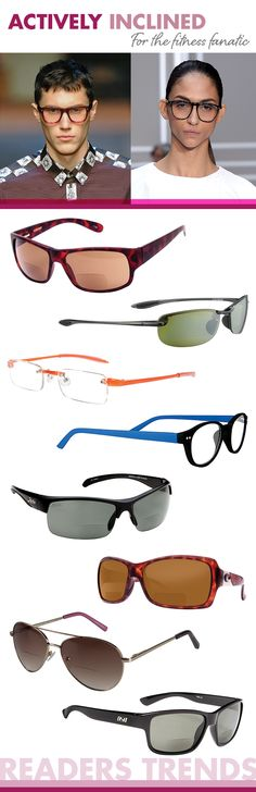 Actively Inclined: Sports-inspired shapes ranging from aviators to shields to wraparounds, pops of neon hues amid basic black and tortoise, understatedly cool colored lenses