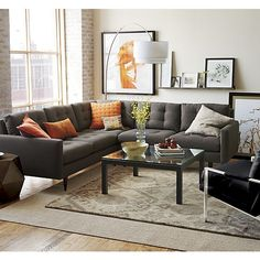 Petrie 2-Piece Graphite Sectional Sofa    Crate and Barrel