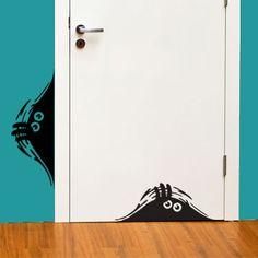 Vinyl.  Love this idea for a little boys room!  Create peeking shadows.