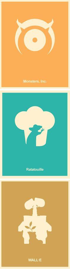 Pixar Minimalist Poster Set - Monsters Inc,  Wall-E, Ratatouille