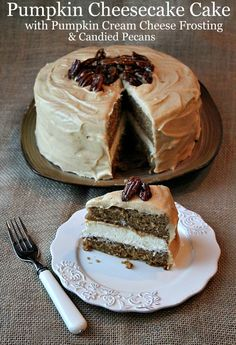 Pumpkin Cheesecake Cake:  a layer of cheesecake sandwiched in-between two layers of pumpkin cake.  Covered with pumpkin cream cheese frosting, and topped with candied pecans. #recipe #thanksgiving #fall