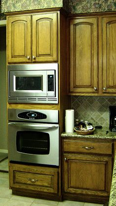Kitchen renovation on pinterest wall ovens butcher for Wall oven microwave combo cabinet