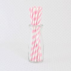 Light Pink Stripe Paper Straws | 25ct for $4.50 in Paper Straws - Tableware