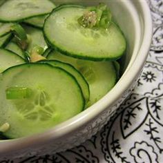 "Refreshing Korean Cucumber Salad | ""Thinly sliced cucumbers are tossed in a spicy, sesame seed dressing in this Korean cucumber salad that is refreshing side dish."""
