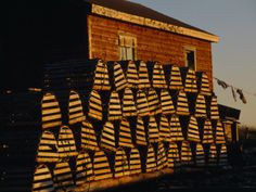 Neatly Stacked Lobster Traps at a Fishing Camp, Gros Morne Np, Newfoundland