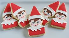 Elf on the Shelf decorated cookie tutorial... without a cookie cutter! From @Bridget edwards {bake at 350}