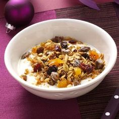 Top 10 Recipes for 200 Calorie Breakfasts from Taste of Home, including Paradise Granola