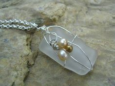 Beach Glass Freshwater Pearl Necklace by KottageKreations on Etsy, $26.00...I could make this