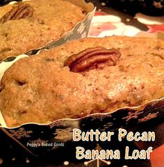 Butter Pecan Banana Bread - These are mini loaves,made for gifts, and will also work using regular loaf pans... mini ones are so cute!  #pecan #banana #cake