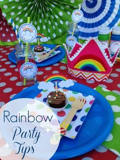 Tips for throwing a rainbow party whether it be a birthday, baby shower, or St. Patrick's Day party! See more party ideas at CatchMyParty.com. | CatchMyParty.com