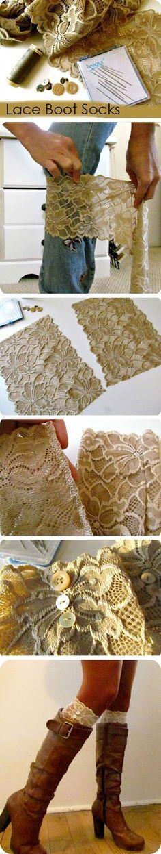 DIY lace boot socks. Tutorial at link.