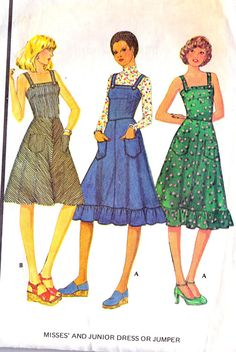 1970s Misses Summer Dress Or Jumper - Our high school trio choir group used this pattern in brown corduroy for our outfits!