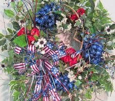 Patriotic Fourth of July Door Wreath Bright Bold by LadybugWreaths, $169.97