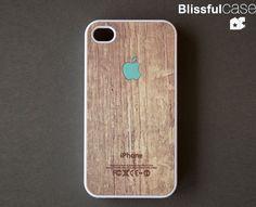 iphone 4 case - Apple logo on wood print - mint. $14.99, via Etsy.