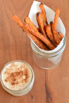 sweet potato fries with cinnamon yogurt dip! Can't wait to try this