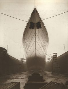 S.S.Franconia. Franconia in dock, bow view. - Tyne & Wear Archives & Museum. Yard no's. 857, 877 Taken from the Swan Hunter and Wigham Richardson Ltd, Shipbuilders Collection Date: 1910-1911