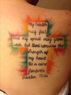 My cross/Bible verse tattoo..Psalm 73:26 :)