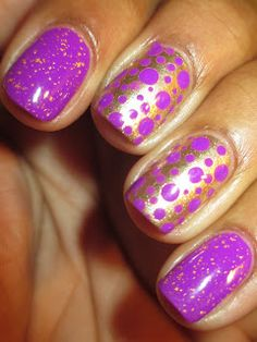 I love the way this gold and purple mani pops.