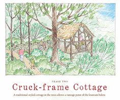 A sketch of the planned Cruck-frame Cottage as part of Lost Hollow: The Kimbrell Children's Garden, at Daniel Stowe Botanical Garden.