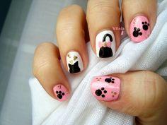 Diseño de uña de silueta de gato.  Cat silhouette nail art design. Inspired by #creativenails